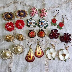 Jewelry - Vintage Floral Cloisonné Pierced Earrings HUGE LOT